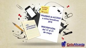 PRUEBAS DE ACCESO CICLOS FORMATIVOS 2018